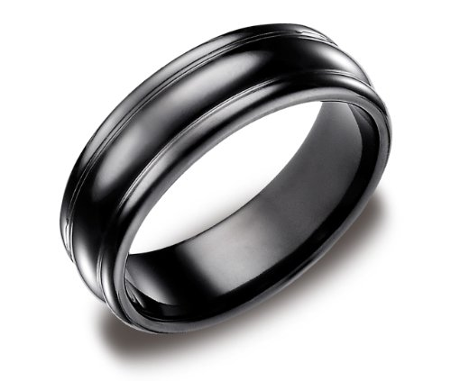 Men's Black Titanium 7.5mm High Polished Round Edge Comfort Fit Wedding Ring Band , Size 12