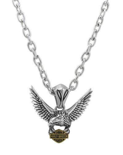 Harley-Davidson® MOD® Men's Gold Tone Bar & Shield Eagle Necklace HDN0209
