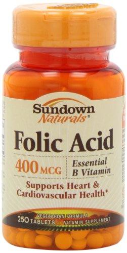 Sundown Naturals Folic Acid, 400 Mcg, 250 Tablets (Pack Of 4)