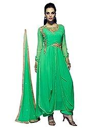 1 Stop Fashion Green Semi Stitched Faux Georgette Anarkali Salwar Kameez