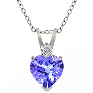 "0.58 Ct Tanzanite & Sapphire Sterling Silver Heart Shape Pendant with 18"" Chain"