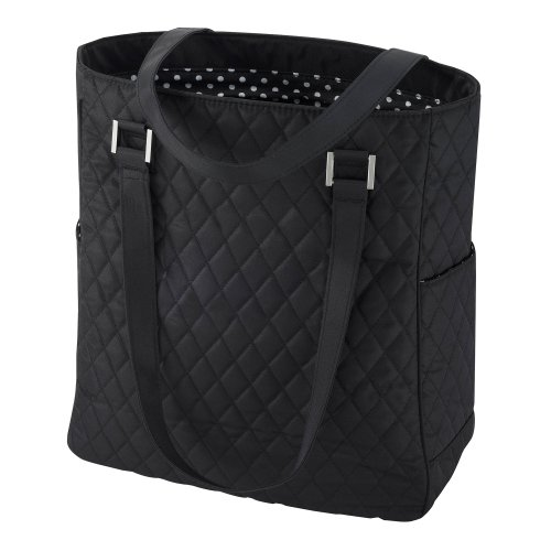 Soft Quilted Microfiber Tote with Side Pockets and Key Ring Leash (Black)