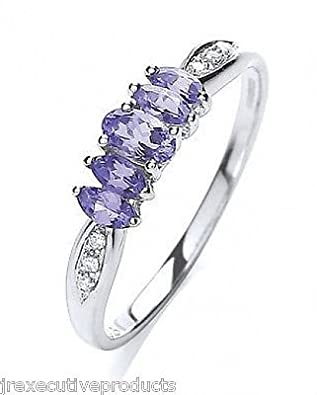 White Gold Real Tanzanite Marquise & Diamond Ring (size K - T available)