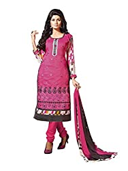 Craftliva Pink Embroidery Chanderi Cotton Dress Material