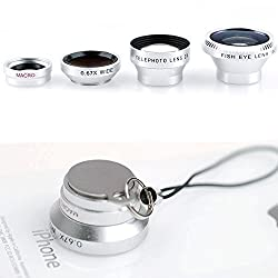 Lightdow 4IN1 Fish Eye Lens + Wide Angle Micro + Telephoto lens Magnetic For iPhone 4 4s 5 5s 6 Plus Samsung Galaxy S6 S5 S4 S3 (Dazzle Silver)