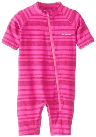 Columbia Unisex-Baby Infant Mini Breaker Sunsuit, Groovy Pink Stripe, 0-3 Months