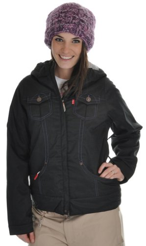 686 Levi Trucker Insulated Ski Snowboard Jacket Black Heringbone Womens Sz XS
