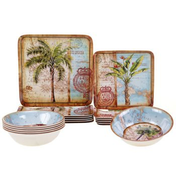 Certified International Antique Palms 18-piece Melamine Dinnerware Set 0