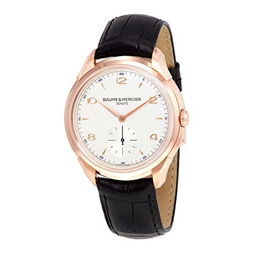 baume-and-mercier-clifton-silver-dial-18kt-rose-gold-mens-watch-10060