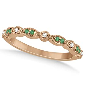 Petite Semi-Eternity Marquise Emerald and Diamond Wedding Band in 18k Rose Gold 0.21ct