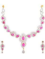Marvel Jewelry American Diamond & Zircon Stone 21K Gold Plated Designer Necklace Set For Girls & Women