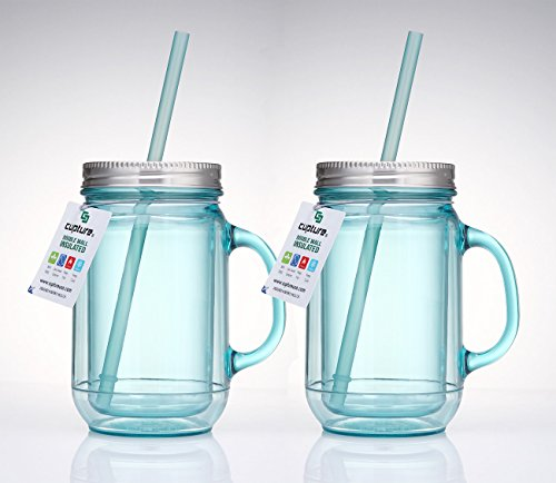 Cupture 2 Vintage Blue Mason Jar Tumbler Mug With Stainless Steel Lid and Straw - 20 oz (Aladdin Cups With Straws compare prices)