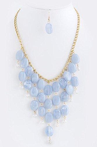 Baubles & Co Oval Gem Fringe Necklace Set (Baby Blue) front-587368