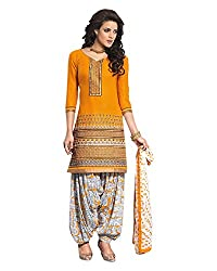 Ala4u Yellow printed Patiala style Unstiched Cotton Dress Material