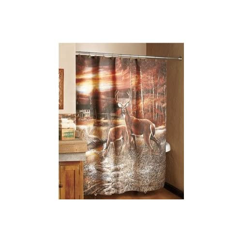 Tranquil deer shower curtain deer decor - Www curtain design picture ...