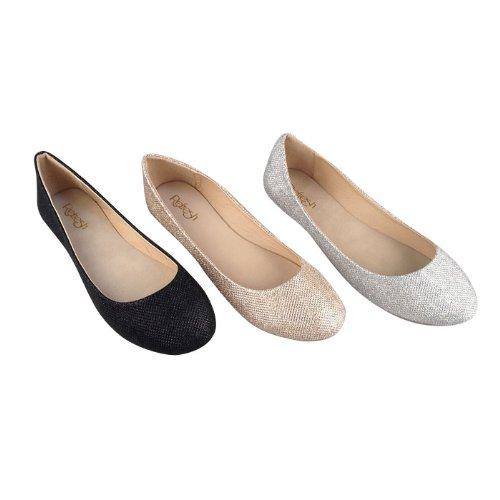 REFRESH DEMI-07 Women's Glitter Shinny Ballerina Ballet Slip On Flats,6 B(M) US,Silver