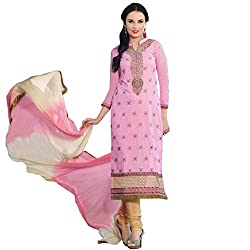 Beautiful designer Baby Pink semi-stitched Salwar Suit
