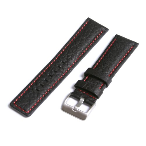 Leather Watch Strap, Genuine Leather Lining, Black & Red, 22mm