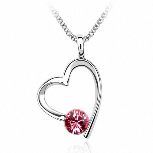 TAOTAOHAS- [ Search Name: I Love You ] (1PC) Crystallized Swarovski Elements Austria Crystal Pendant Necklace, 18KGP Marked, Made of Alloy Plated with 18K True Platinum / White Gold and Czech Rhinestone