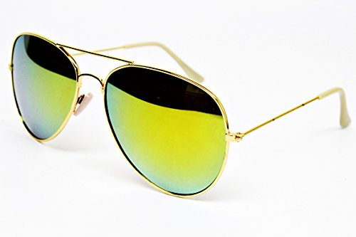 A129-vp Style Vault Aviator Metal Mirrored Sunglasses (1106 Gold-Lime Gold Mirror, uv400)