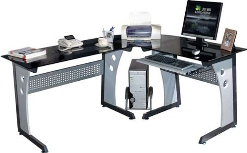 LARGE COMPUTER DESK in Black Glass by Piranha Trading Ltd with FREE EXPEDITED DELIVERY (PC4)