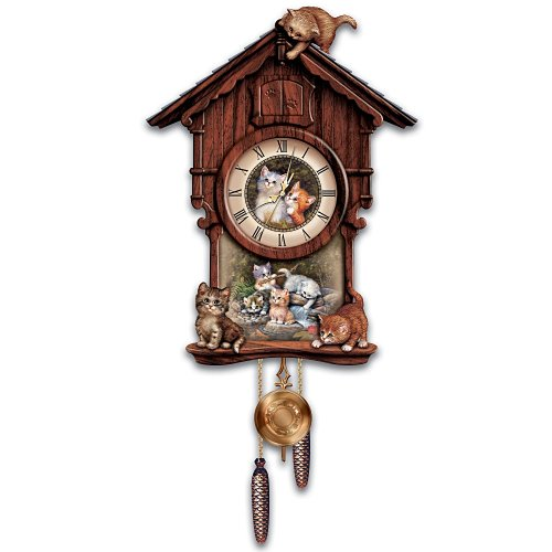 Moments Of Purr-fection Wooden Cuckoo Clock With Kittens: Collectible Cat Lover Gift by The Bradford Exchange