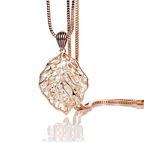 Finov Crystal Stuffing Rose Gold Plated Hollow Leaf Long Chain Necklace