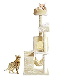 """PARTYSAVING 51"""" Cat Kitty Tree Scratcher Play House Condo Furniture Toy Bed Post House APL1064, Beige, Medium"""