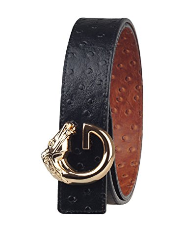 "Fengwen Men Reversible Genuine Leather Belt 1.5"" Width Alloy Buckle HG32 Ostrich/Horse gold S(31""-34"")"