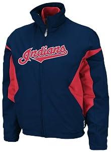 MLB Cleveland Indians Triple Peak Premier Jacket, Navy Red, Ladies by Majestic