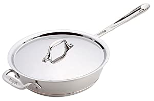 All-Clad 6213 SS Copper Core 5-Ply Bonded Dishwasher Safe 3-Quart Saucier Cookware, Silver by All-Clad