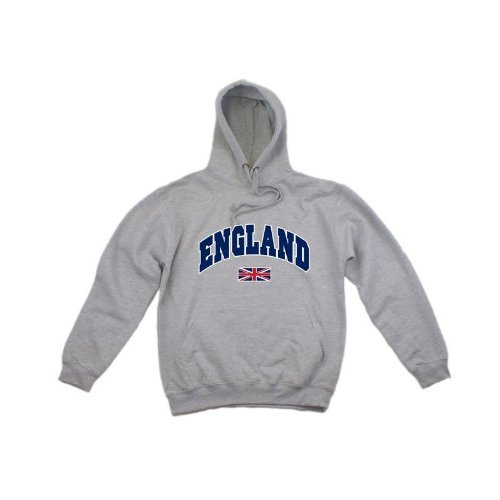 Mens England Union Jack Hooded Sweatshirt Jumper/Hoodie (XS - 32inch - 34inch) (Light Grey)