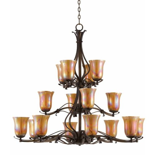 Triarch International Lighting 31455 La Perla Collection 16-Light 3-Tier Chandelier, Harvest Bronze Finish With Hand-Blown Decorator Art Glass Shades front-92318