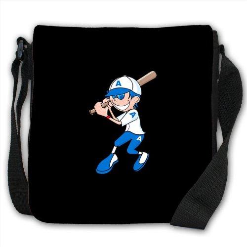 Basketball Playing Blue Eyed Little Illustrated Boy Small Black Canvas Shoulder Bag / Handbag