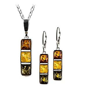 Sterling Silver Multicolor Amber Square Leverback Earrings Necklace Set 18 Inches