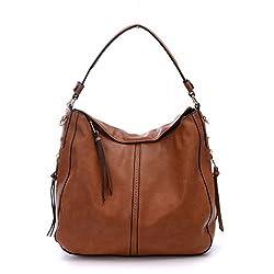 DDDH Large Women's Hobo Handbags PU Leather Purse Bag Cross-body Shoulder Bag Tactical Top-handle Bucket Bag(Brown)