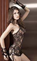Black Gold Halter Lace Babydoll with Lace Up Side and Gloves 8/10
