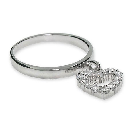 Sterling Silver CZ Dangle Heart Ring Size 7 (Sizes 5 6 7 8 9 Available)
