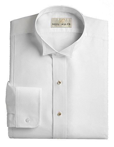 Wing Collar Tuxedo Shirt, Pique Bib Front, 65% Polyester 35% Cotton White (16 - 32/33)