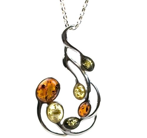 Multicolor Amber and Sterling Silver Large Pendant Rolo Chain 18
