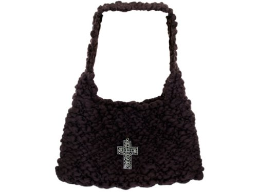 Wholesale Set Of 1, Handmade Brown Knit Bag With Cross Closure (Fashion Accessories, Handbags), $29.67/Set Delivered