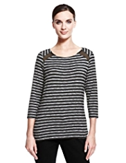 Autograph Mesh Insert Striped Top