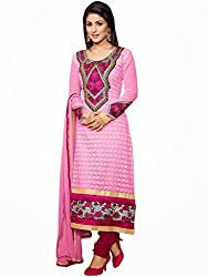 Fabvila Pink Chanderi A-line Unstitched Dress Material