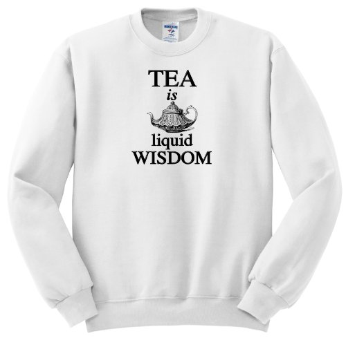 Evadane - Funny Quotes - Tea Is Liquid Wisdom. Tea Time. Tea Party. - Sweatshirts - Adult Sweatshirt Small