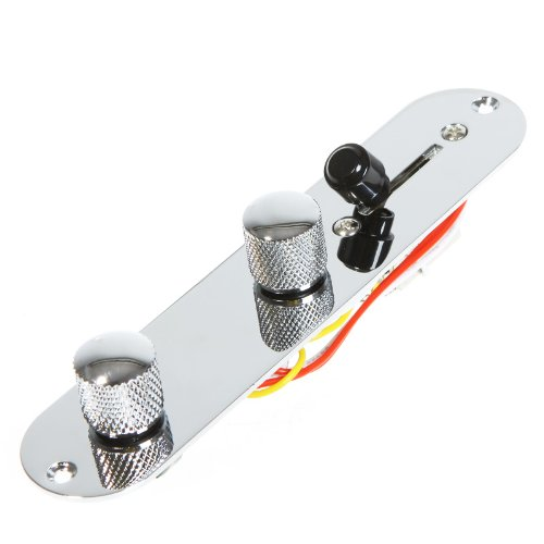 Ebotrade-Tech Wired Loaded Control Plate Harness Switch Knobs For Tl Tele Telecaster Guitar Silver