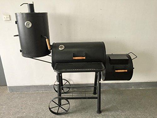 (ABC) TEXAS - PROFI XXL Smoker BBQ GRILLWAGEN ca. 75kg Holzkohle Grill Grillkamin ca. 2,0 mm Stahl PROFI-QUALITÄT