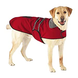 Dog Coat - Red Fleece Reflective Safety Jacket for Dogs - Large
