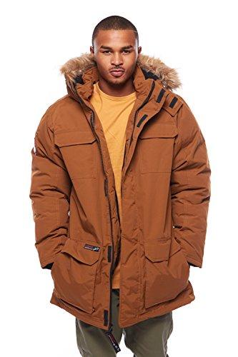 Mens Canada Weathergear Warm Faux Fur Hoodie Winter Jacket OMCW001 (L, Oak) (Canada Winter Jacket compare prices)
