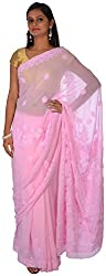 knool Women's Georgette Saree With Unstitched Blouse Piece (Baby Pink) (CPCSA01)