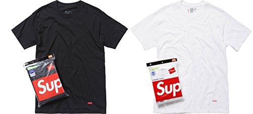 SUPREME シュプリーム 白/黒 Hanes Tagless Tシャツ 半袖 アンダーウェアー 1枚 ばら売り [並行輸入品]